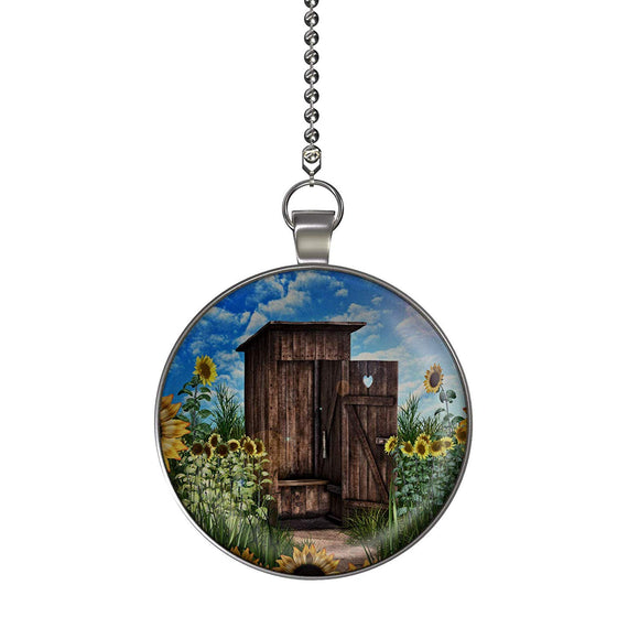 Sunflower Outhouse Fan/Light Pull Pendant with Chain