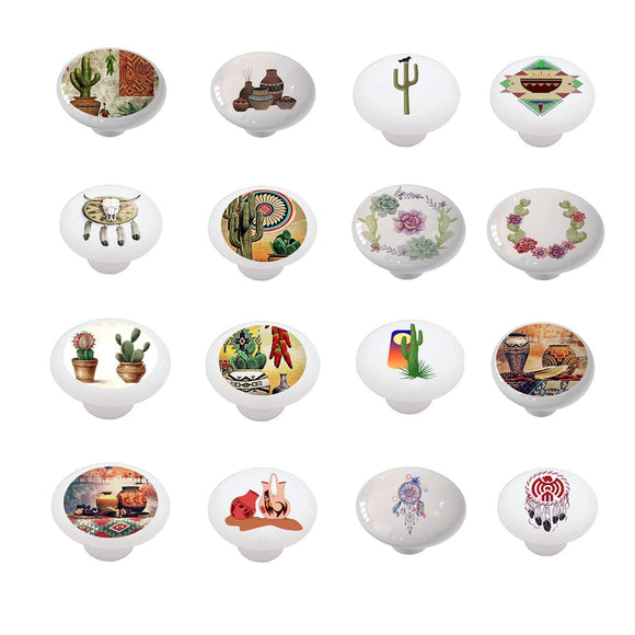 Set of 16 Southwest Southwestern Designs Ceramic Drawer Knobs