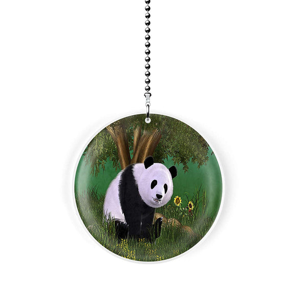 Sunflower Panda Fan Pull