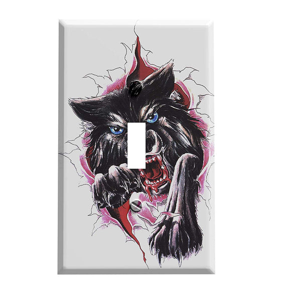 Wolf Break Through Switch Plate Cover