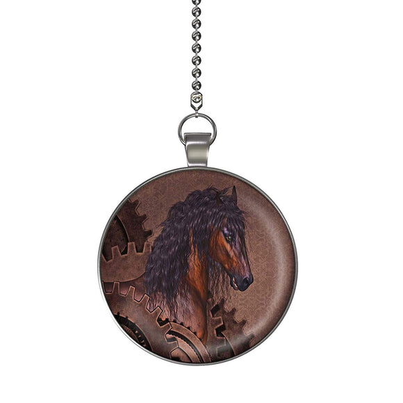 Steampunk Horse Fan/Light Pull Pendant with Chain
