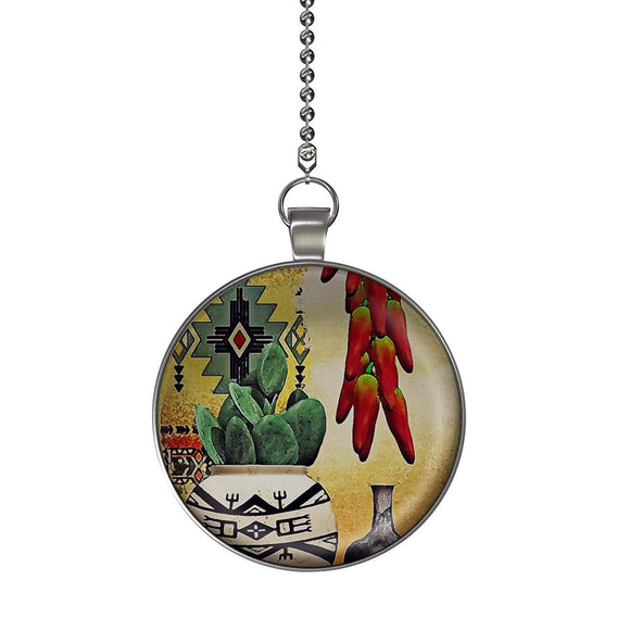 South West Cactus and Chili Peppers Ceiling Fan/Light Pull Pendant with Chain