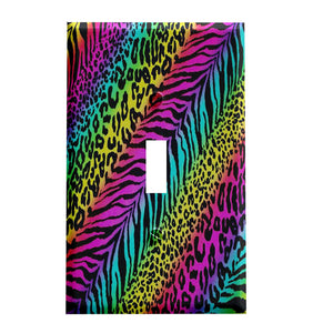 Rainbow Crazy Animal Print Switch Plate Cover