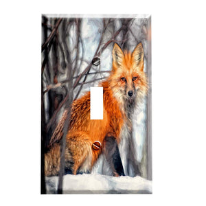 Snowy Fox Animal Switch Plate Cover