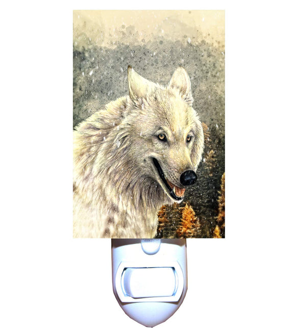 Autumn Snow Wolf Night Light