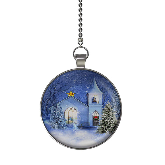 The Christmas Church Fan/Light Pull Pendant with Chain
