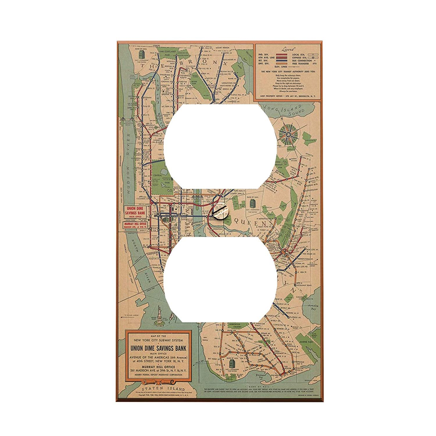 New York City Subway Map Wall Paper.Vintage Nyc Subway Map Outlet Cover Nyc Themed Wall Decor