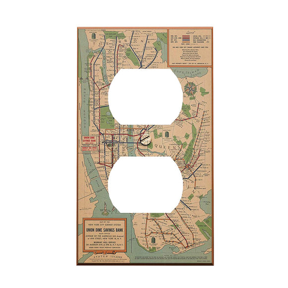Vintage NYC Subway Map Outlet Cover - New York City Themed Decor