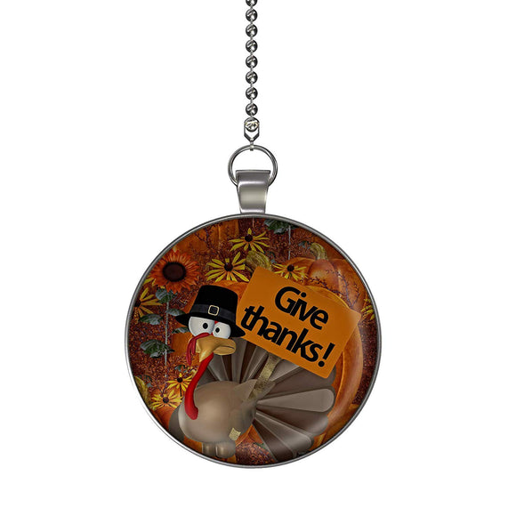 Give Thanks Turkey Ceiling Fan/Light Pull Pendant with Chain