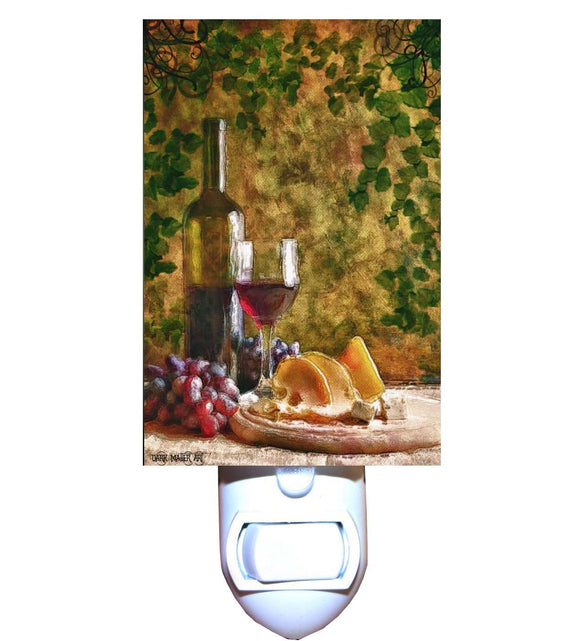 Red Wine, Cheese and Grapes Night Light