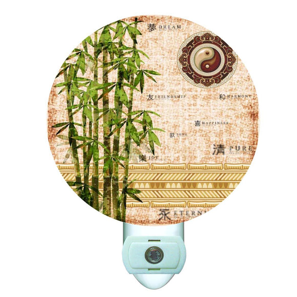 Abstract Bamboo Decorative Round Night Light