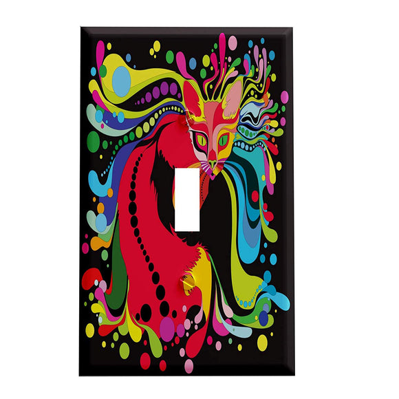 Rainbow Psychedelic Cat Switch Plate Cover