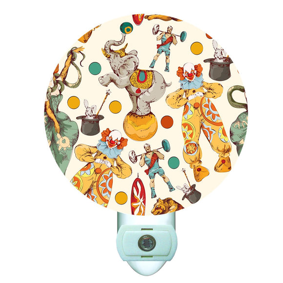 Circus Collage Decorative Round Night Light