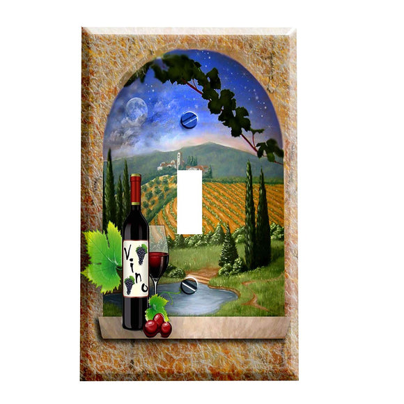 Red Wine in Tuscan Switch Plate Cover
