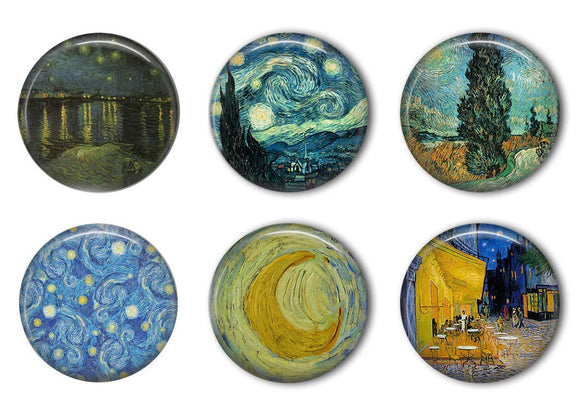 Van Gogh Starry Night Refrigerator Magnet Set