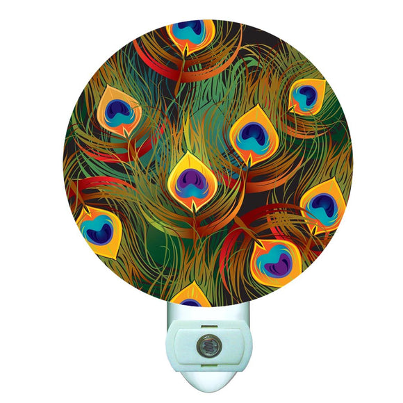 Colorful Peacock Decorative Round Night Light