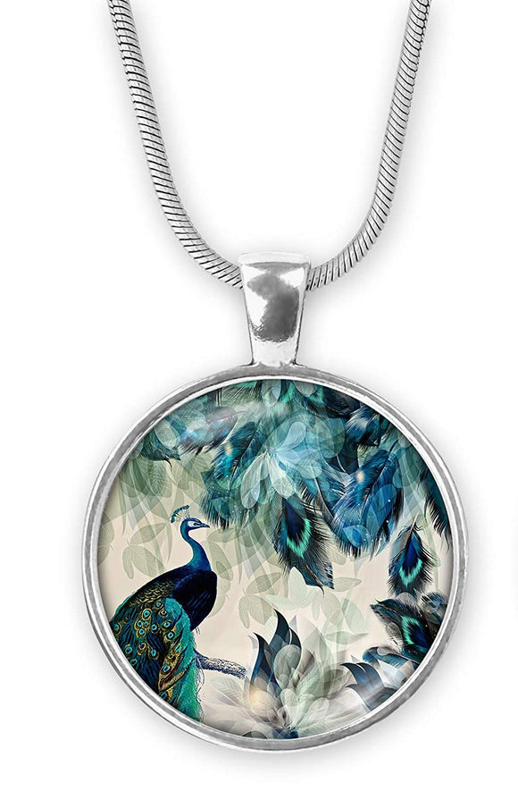 Gotham Decor Abstract Peacock Round Pendant on Chain