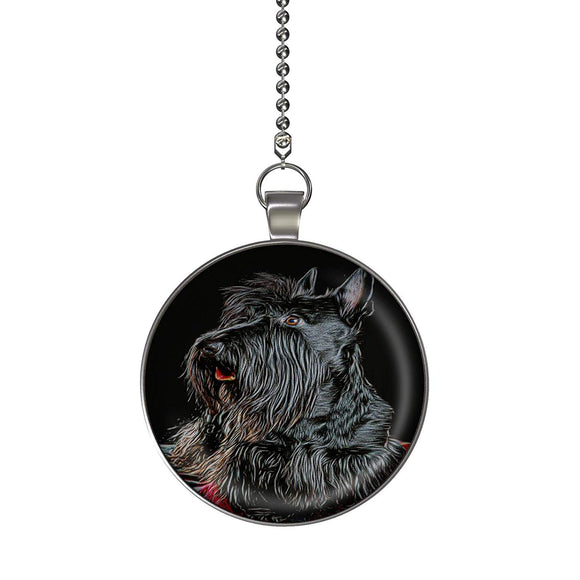 Scottish Terrier Fan/Light Pull Pendant with Chain