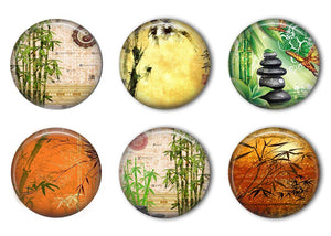 Asian Bamboo Refrigerator Magnet Set