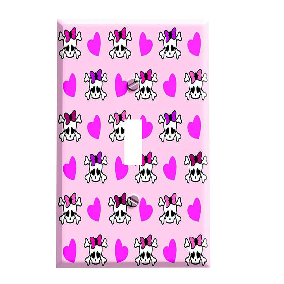 Girly Skulls with Bows and Hearts Switch Plate Cover