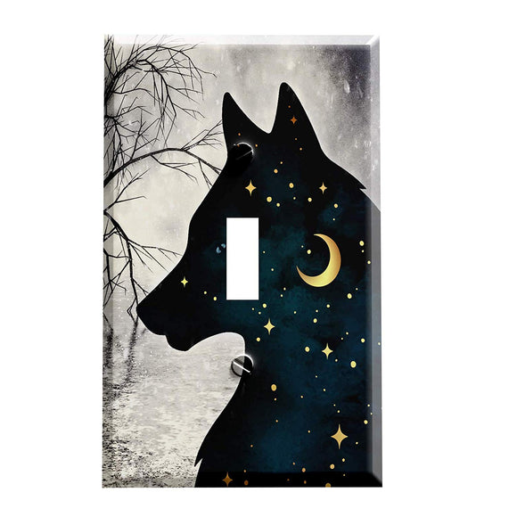 Starry Night Snow Wolf Switch Plate Cover