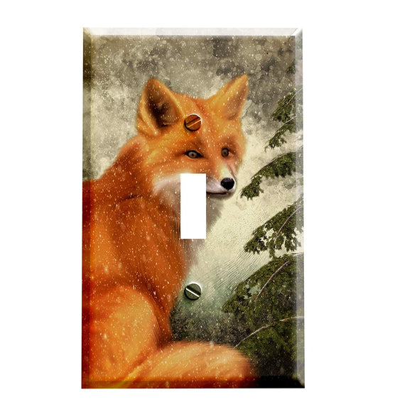 Mountain Winter Fox Switch Plate Cover