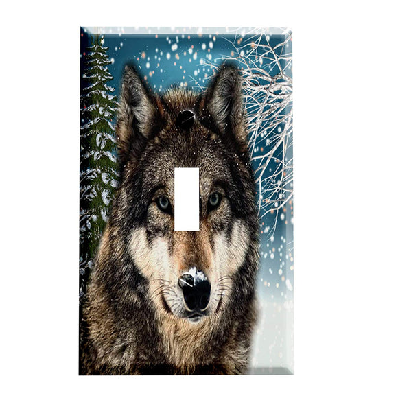 Snow Timber Wolf Switch Plate Cover