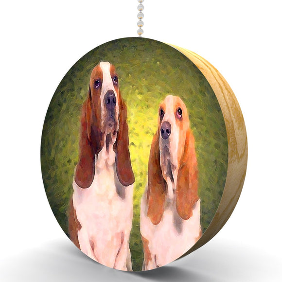 Basset Hound Pair Hardwood Oak Fan/Light Pull