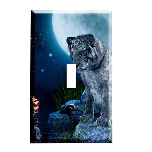 White Tiger Moon Switch Plate Cover