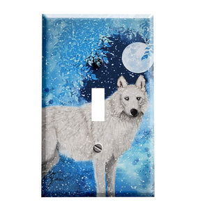 Arctic Moon Wolf Switch Plate Cover