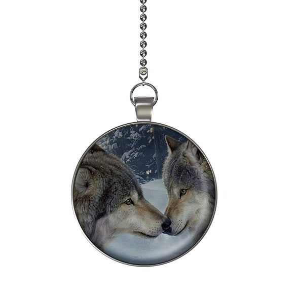 Snow Wolf Kiss Fan/Light Pull Pendant with Chain