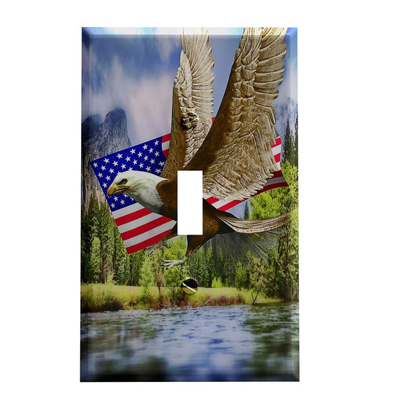 American Eagle and Flag Switch Plate Cover