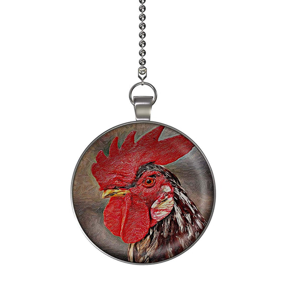 Rooster Portrait Fan/Light Pull Pendant with Chain