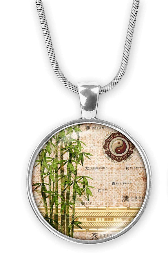 Gotham Decor Abstract Bamboo Round Pendant on Chain