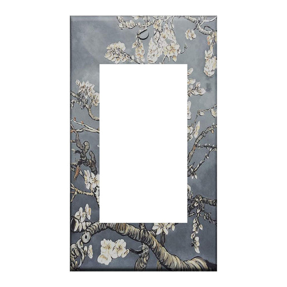 Van Gogh Almond Blossoms Pearl Gray GFI Rocker Switchplate Cover