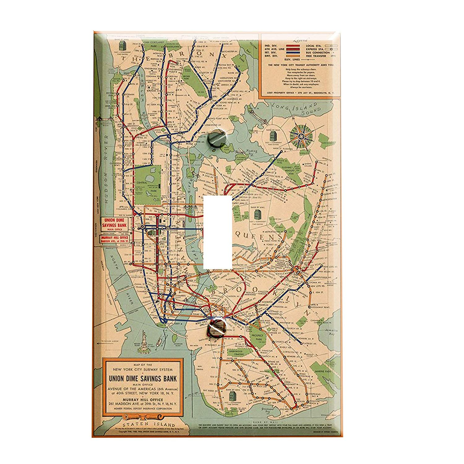 Vintage New York City Subway Map.Vintage Nyc Subway Map Switch Plate