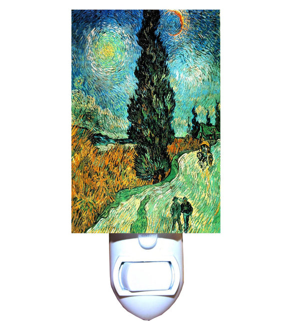 Road with Cypress and Star by Van Gogh Night Light