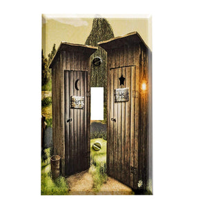 His and Hers Outhouse Switch Plate Cover