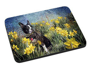 Boston Terrier in Daffodils Mouse Pad