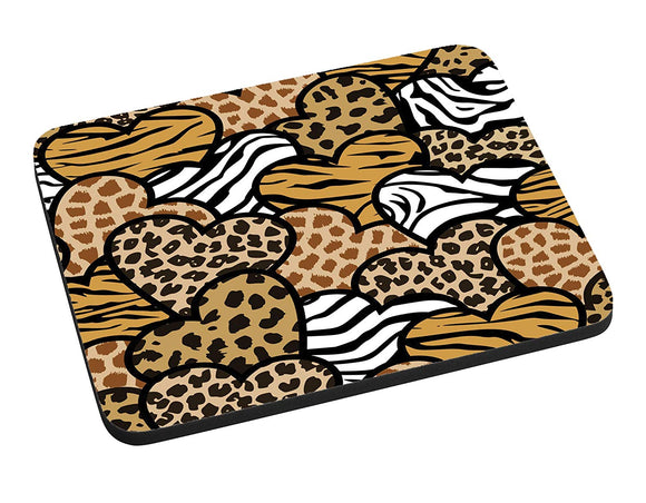 Animal Print Hearts Mouse Pad