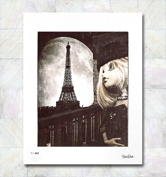 Moonlight in Paris Limited Edition Signed Fine Art Print By Gina Brake