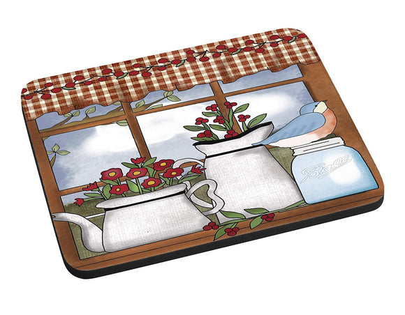Berries and Flowers Country Window Mouse Pad