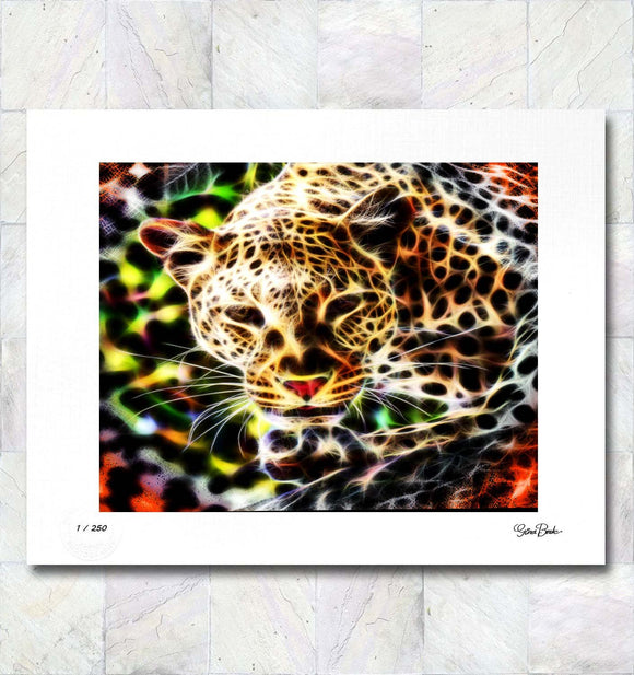 Leopard Illumination Limited Edition Signed Fine Art Print By Gina Brake