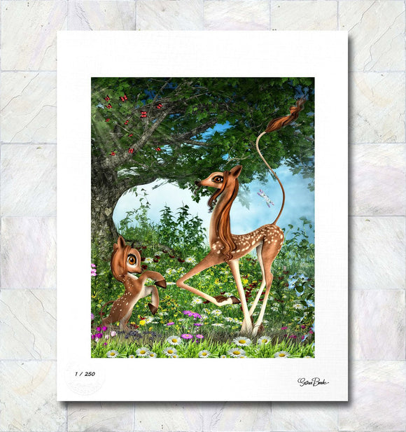 Magical Mother and Fawn Limited Edition Fine Art Print By Gina Brake
