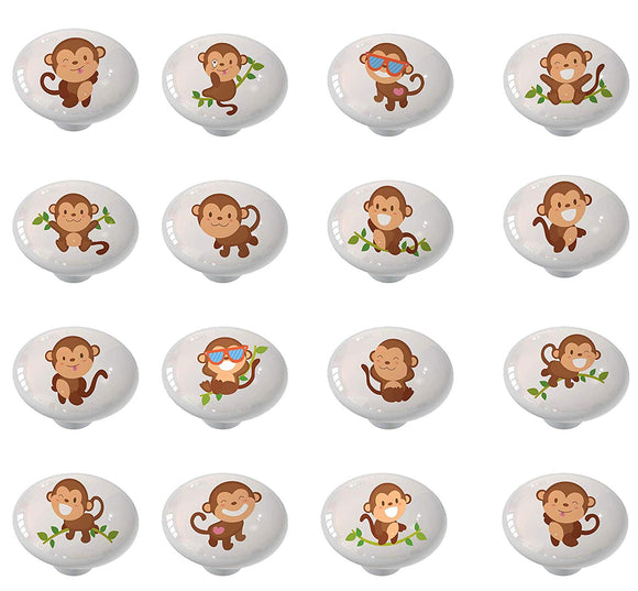 Set of 16 Cheeky Monkey Kids Animal Themed Ceramic Drawer Knobs