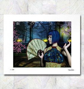 Midnight Cherry Blossom Limited Edition Fine Art Print By Gina Brake