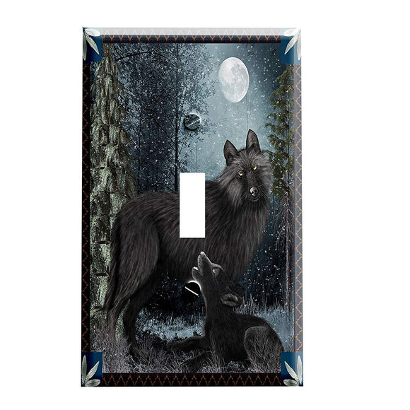 Woodland Tenderness Wolves Switch Plate Cover