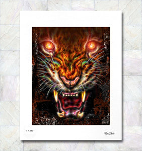 Growling Tiger Flame Limited Edition Signed Fine Art Print By Gina Brake