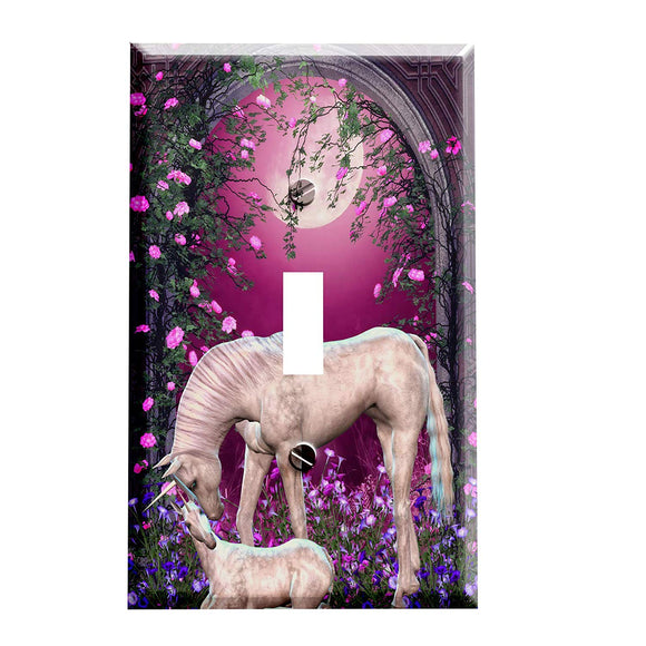 Unicorn and Baby Rose Arch Switch Plate Cover