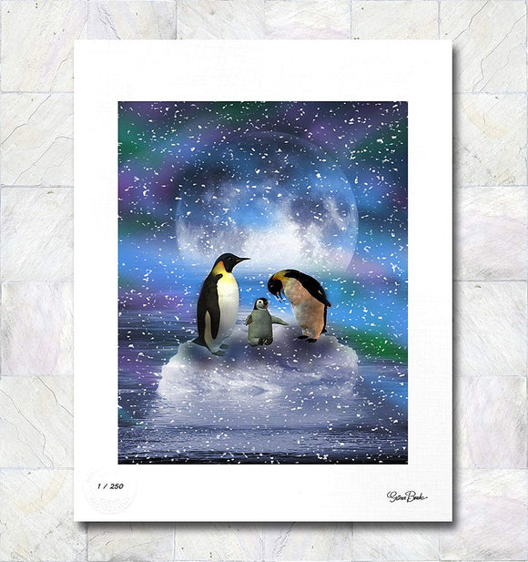 Arctic Penguins Limited Edition Signed Fine Art Print By Gina Brake